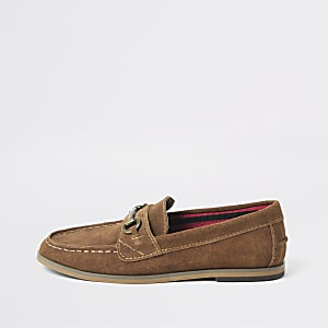 Boys brown snaffle front loafers