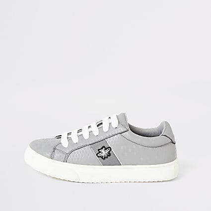 Boys grey lace-up trainers