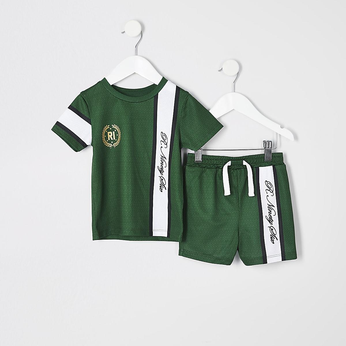 Mini - Outfit met groen R96 T-shirt voor jongens
