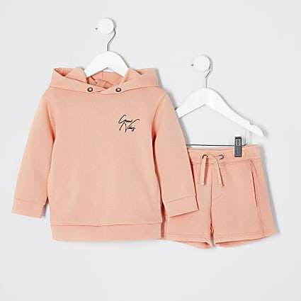 Mini boys orange hoodie outfit