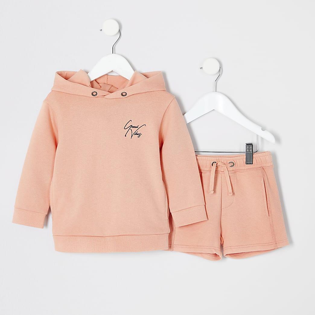 Mini boys orange hoodie outfit