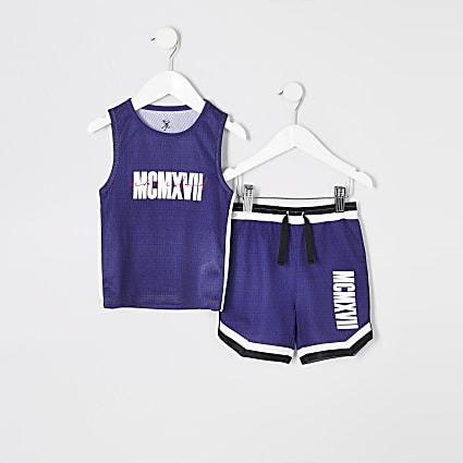 Mini boys blue printed mesh vest outfit
