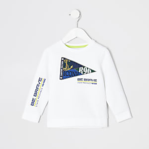 Mini boys white flag embroidered sweatshirt