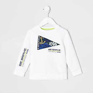 Weißes Sweatshirt mit Flaggenstickerei