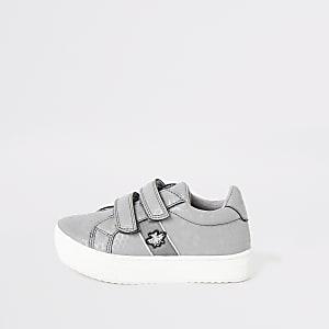 Mini - Grijze sneakers met klittenband voor jongens