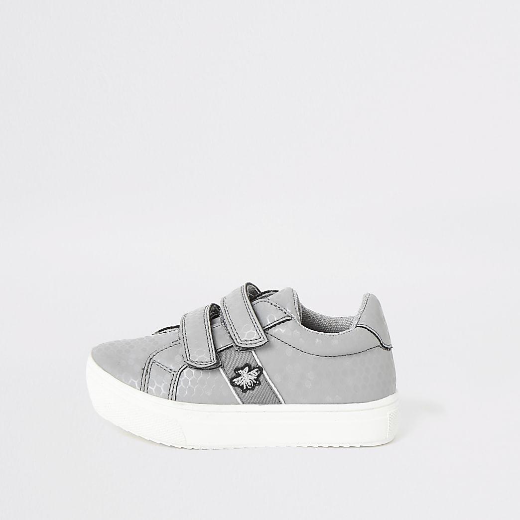 Mini boys grey velco trainers