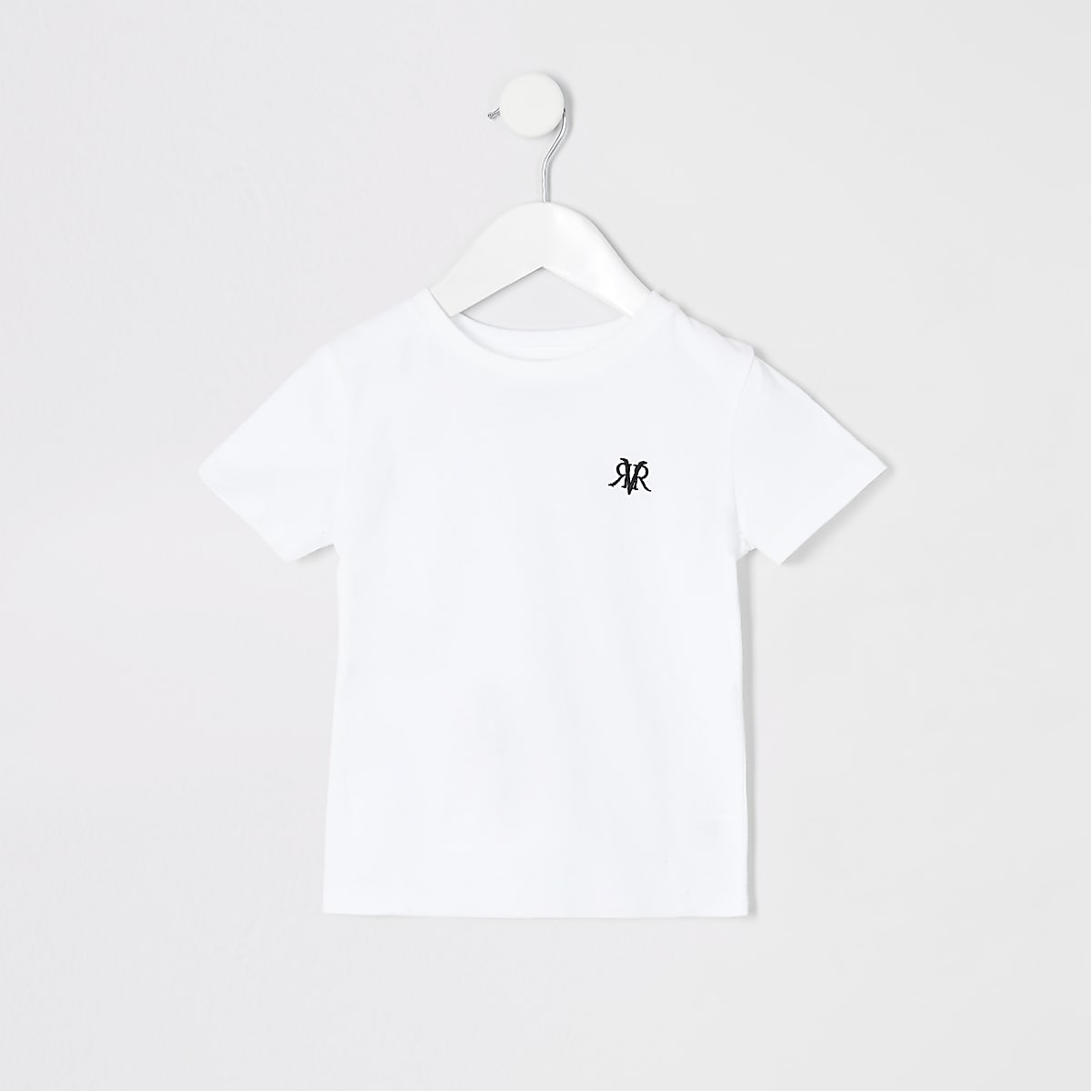 Mini boys white RI embroidered T-shirt