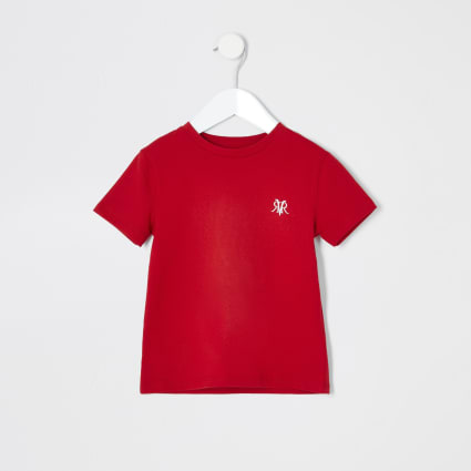 Mini boys red RI embroidered T-shirt