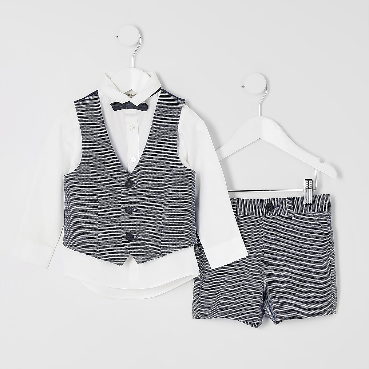 Mini boys blue shorts suit set