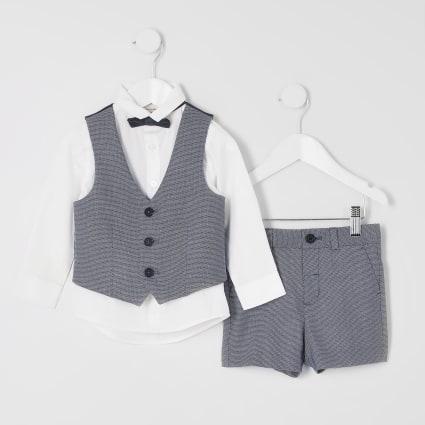 Mini boys blue shorts suit set