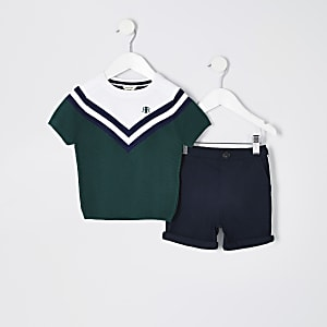 Mini boys green colour block T-shirt outfit
