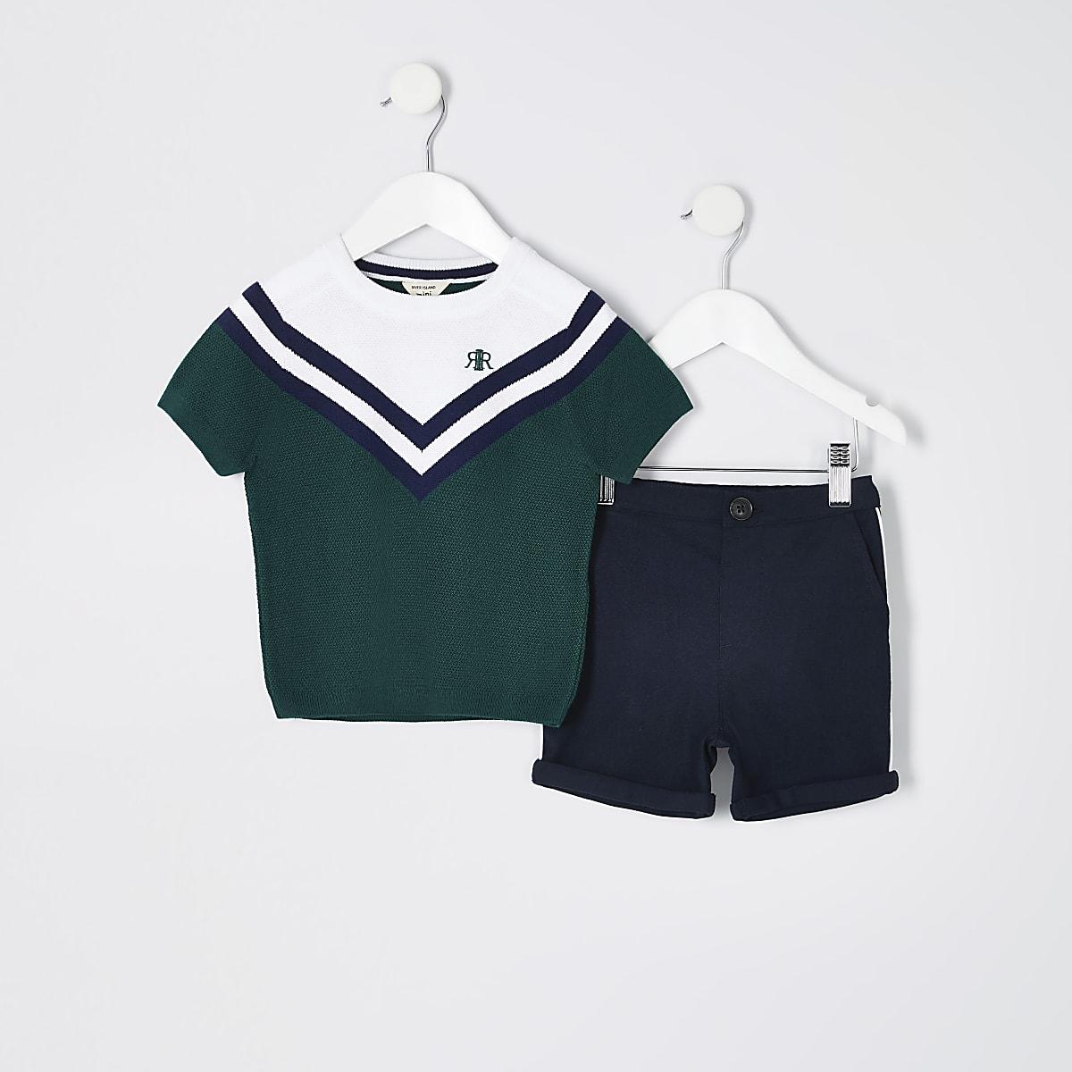 Mini boys green colour block T-shirt outfit
