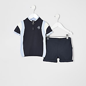 Mini boys blue polo shirt outfit