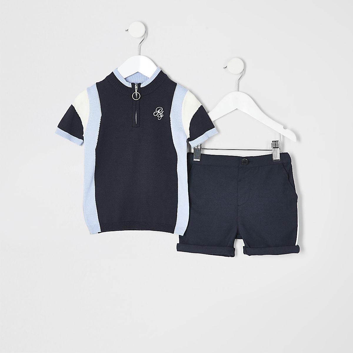 Mini boys blue polo shirt outfit