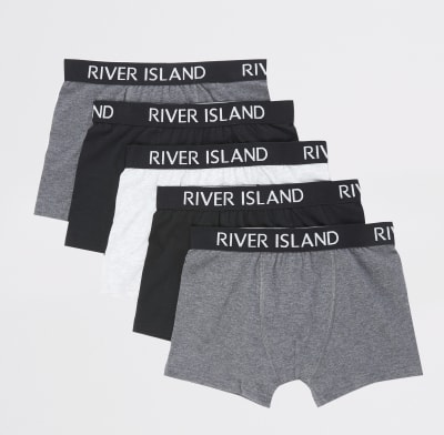 Boys Grey Ri Boxers 5 Pack by River Island