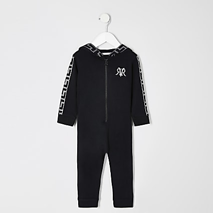 Mini boys black printed RI onsie