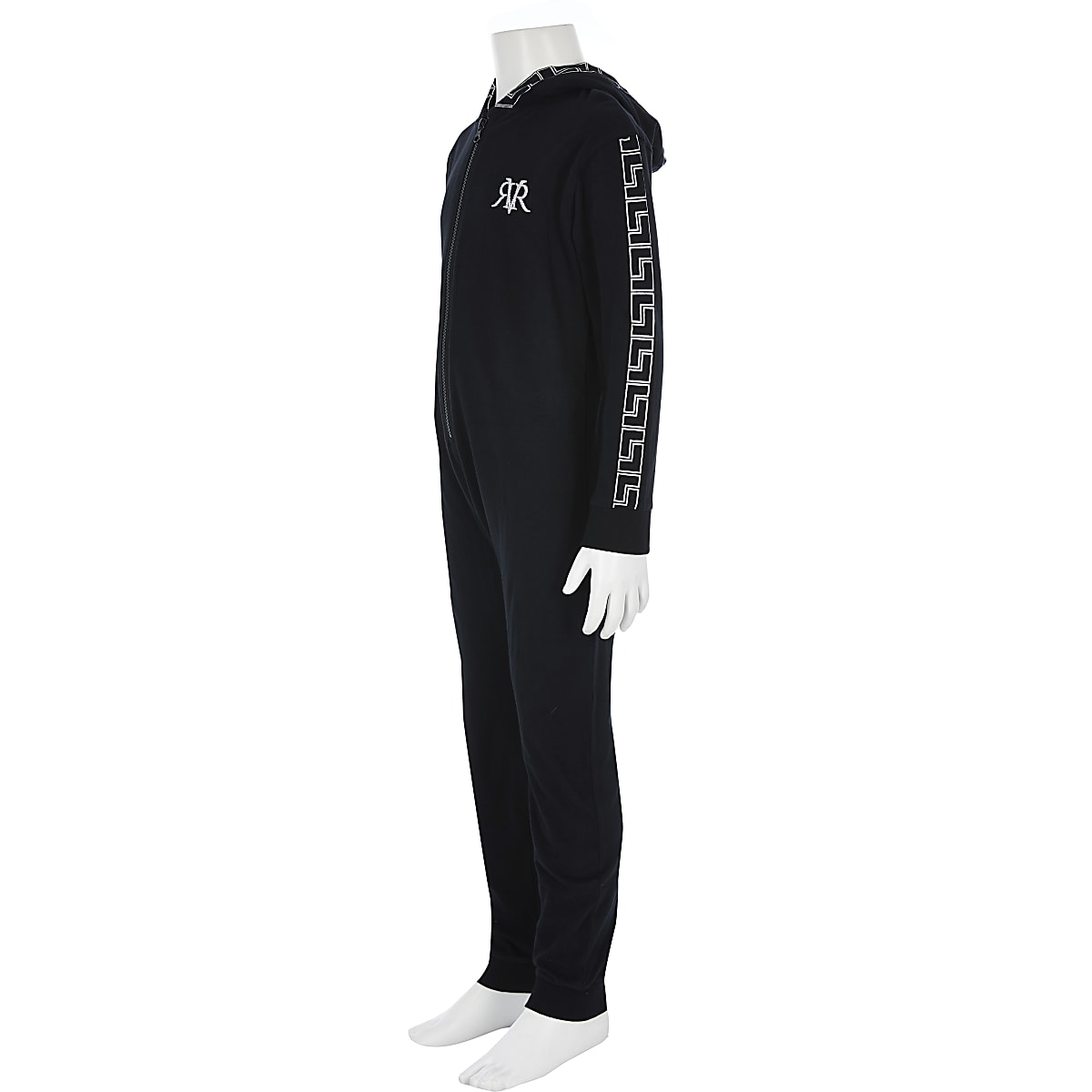 Boys black RI printed onesie