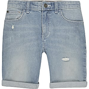 Boys light blue slim fit denim shorts