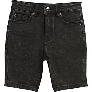 Boys black wash Sid skinny shorts
