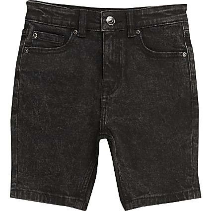 Boys black wash Sid skinny shorts
