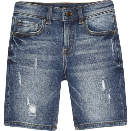 Boys mid blue skinny fit shorts