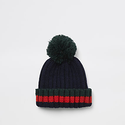 Mini boys dark green stripe beanie hat