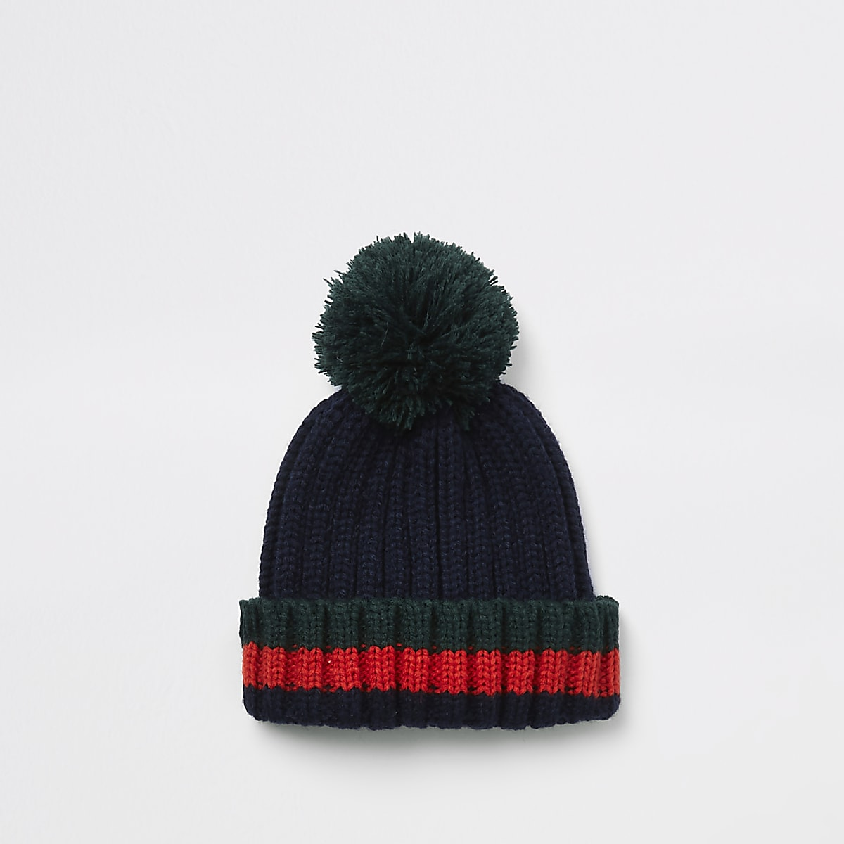 Mini boys dark green stripe beanie hat