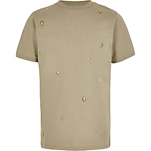 T-shirt grège à tête de mort ornée pour garçon