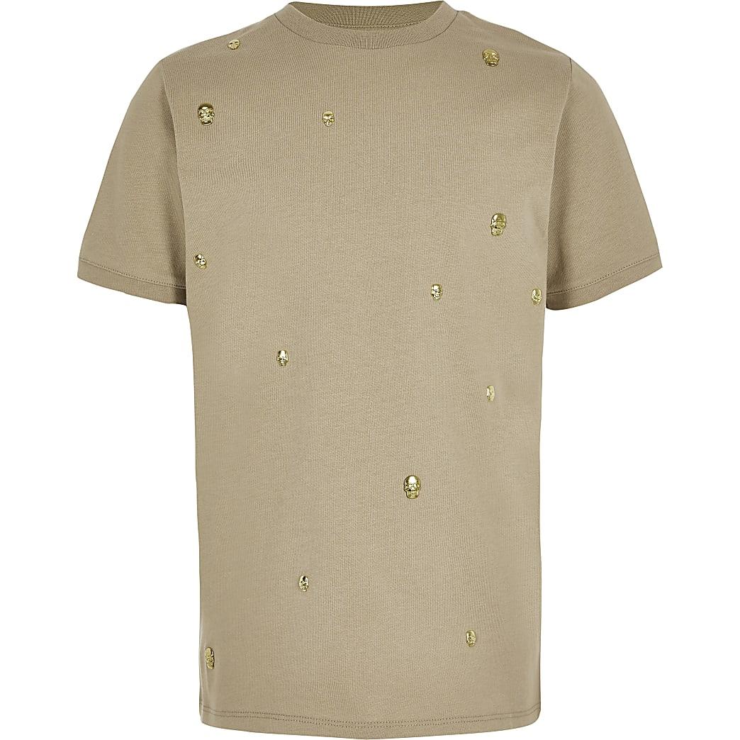 Kiezelkleurig T-shirt verfraaid met doodshoofden voor jongens