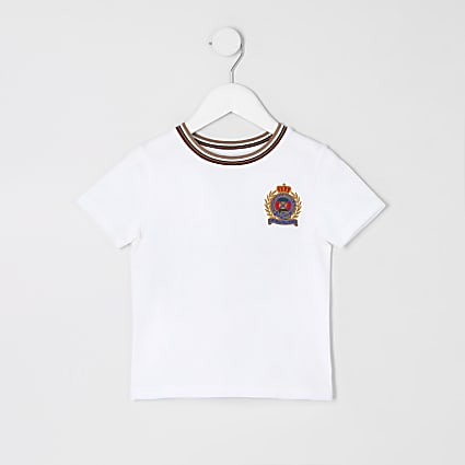 Mini boys white badge T-shirt
