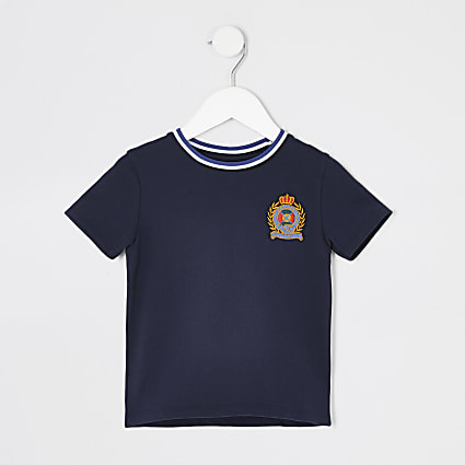 Mini boys navy badge T-shirt