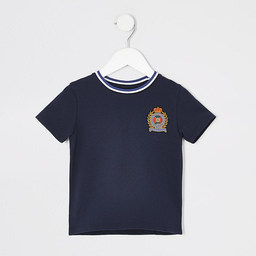Mini boys navy badge T-shirt