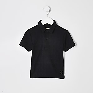 Mini boys black RI monogram polo shirt