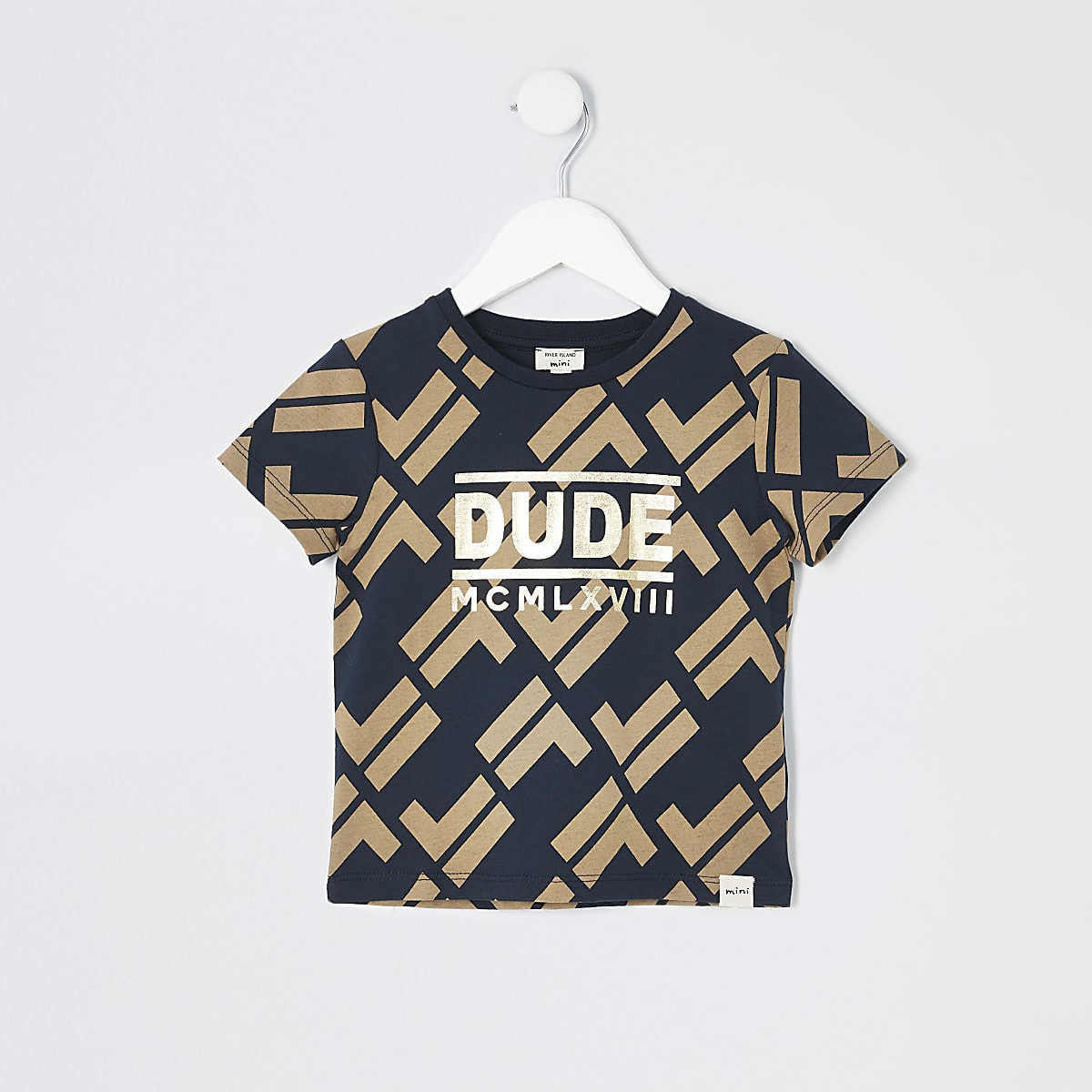 Mini boys navy RI print T-shirt