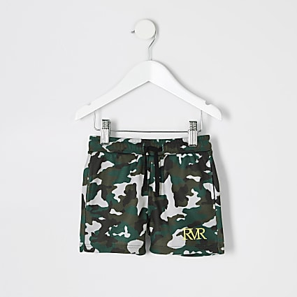 Mini boys khaki camo print shorts