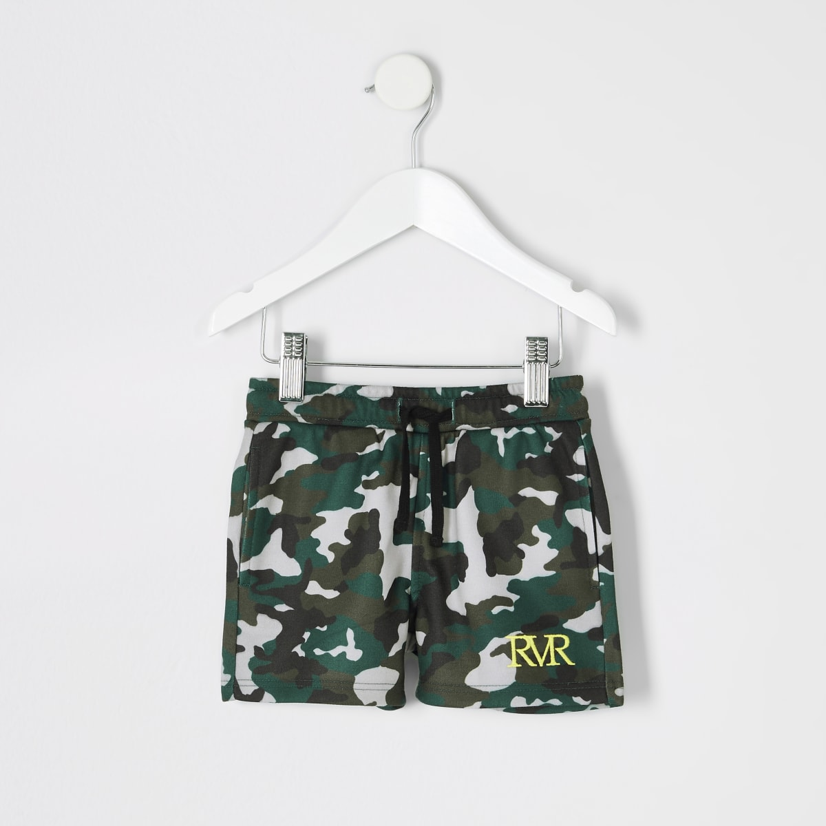 Mini boys khaki camo print shorts