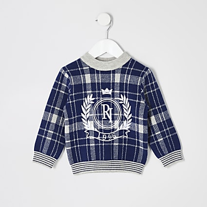 Mini boys blue check RI jumper