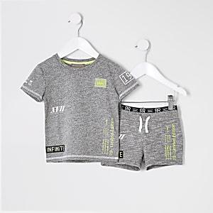 RI Active – Ensemble avec short gris pour mini garçon