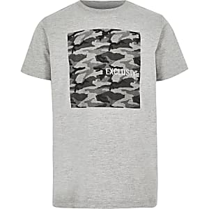 Graues Camouflage-T-Shirt