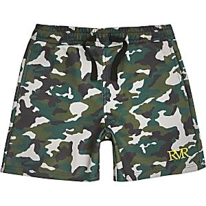 Kaki jersey short met camouflageprint voor jongens