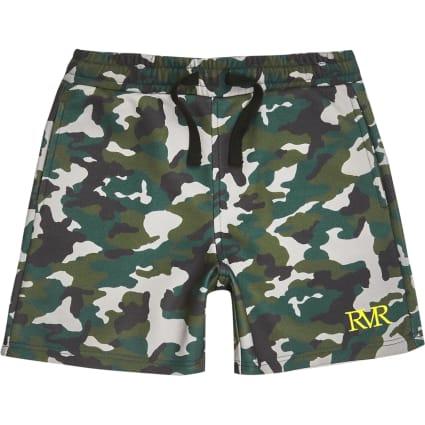 Boys khaki camo jersey shorts