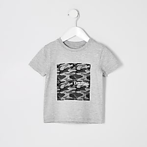 Mini boys grey marl camo T-shirt