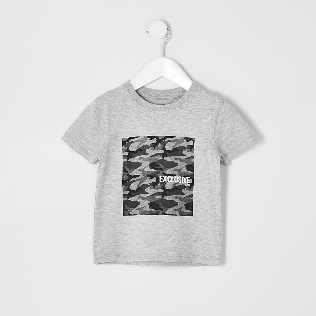 Mini - Grijs gemêleerd T-shirt met camouflageprint voor jongens
