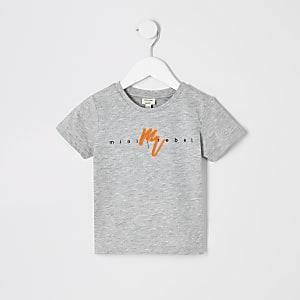 T-shirt «Maison Riviera» gris à logo fluo mini garçon