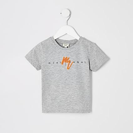 Mini boys grey neon 'Maison Riviera' T-shirt
