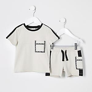 Mini - Kiezelkleurige utility-T-shirtoutfit voor jongens