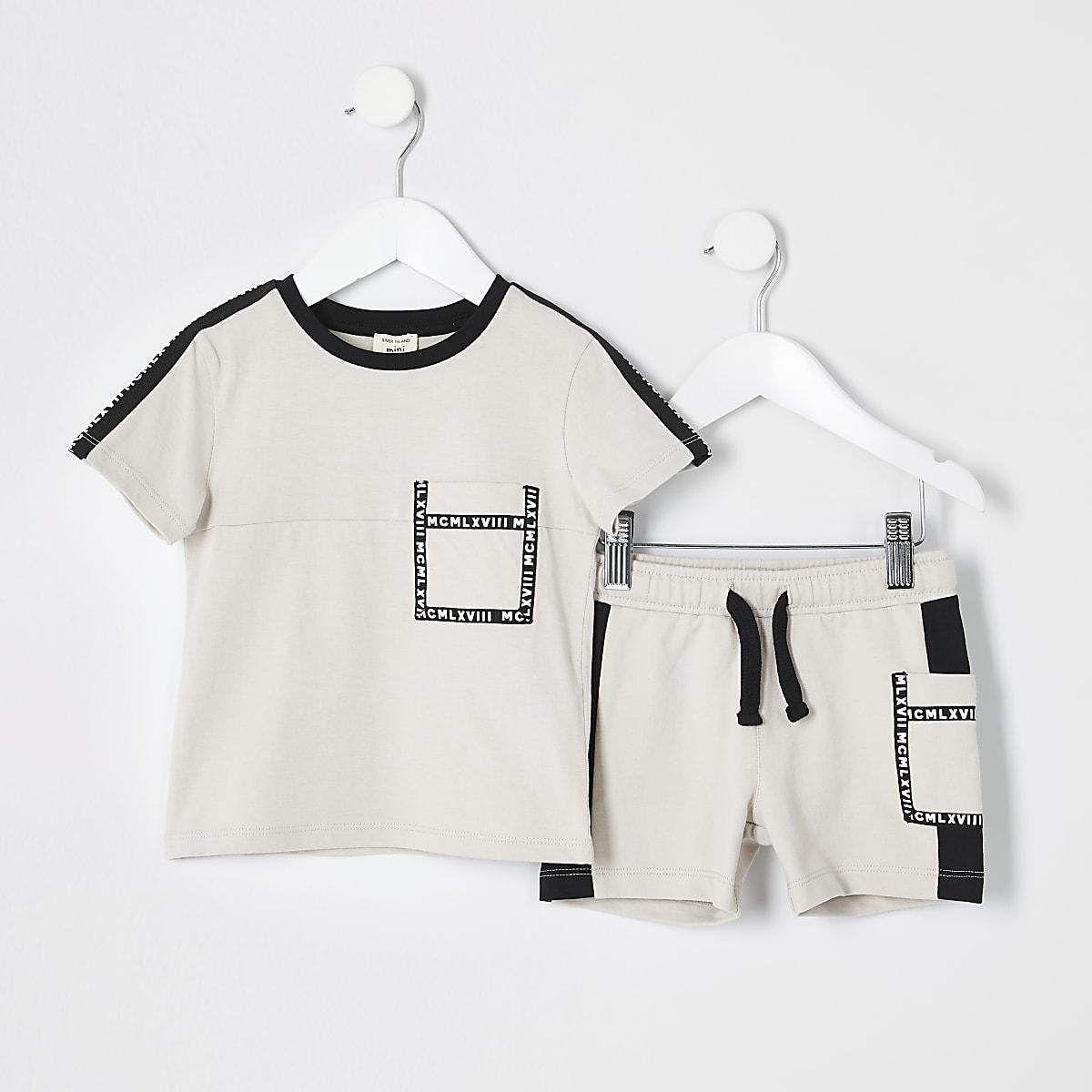 Mini boys stone utility T-shirt outfit