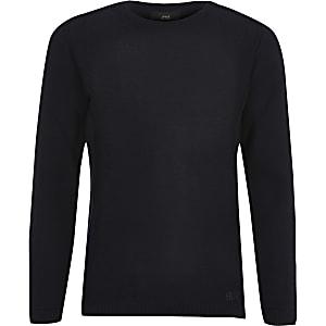 Marineblauwe gebreide pullover voor jongens