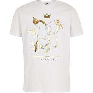 Wit T-shirt met RI-print in reliëf voor jongens
