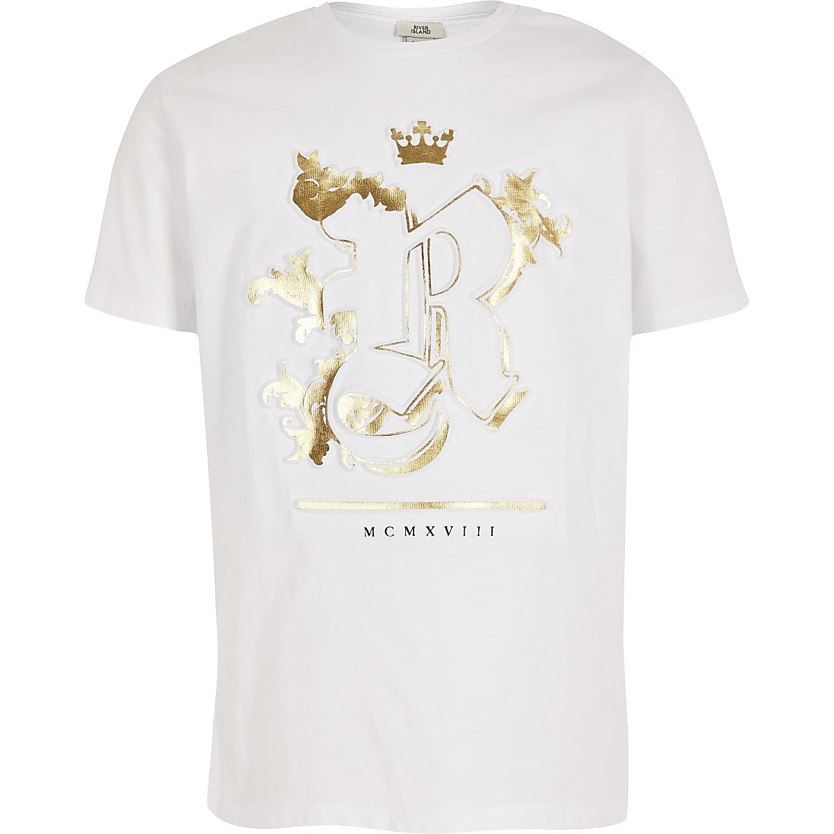 Boys white RI embossed T-shirt